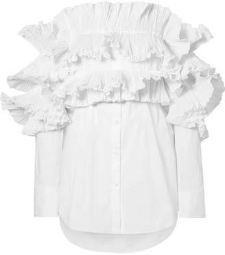 Rosie Assoulin Off-the-shoulder Ruffled Poplin Shirt - White