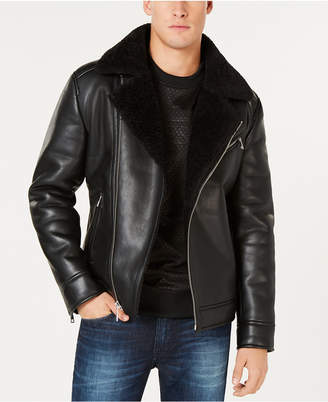 GUESS Men Faux-Leather Fleece-Lined Asymmetrical Full-Zip Moto Jacket