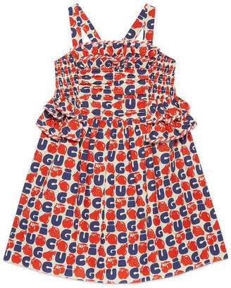 Gucci Children's poplin dress with fruits