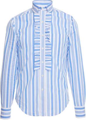Prada Righe Baiadera Ruffle Cotton-Poplin Dress Shirt Size: 39