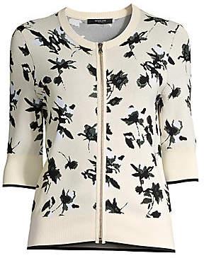 Derek Lam Women's Floral Jacquard Knit Zip Cardigan