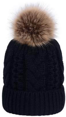0f1c86ae096 LOKTARC Women s Winter Cable Knit Faux Fur Pom Pom Fleece Lined Beanie Hat