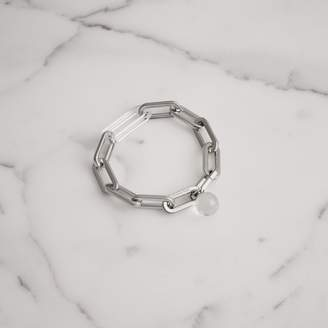 At Burberry Gl Charm Palladium Plated Link Bracelet