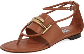 Tod's Leather Horsebit Flat Sandals