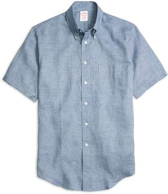 Brooks Brothers Madison Fit Check Linen Short-Sleeve Sport Shirt