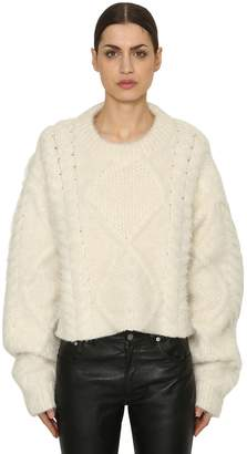 Maison Margiela Cropped Alpaca Blend Cable Knit Sweater