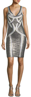 Herve Leger Tricolor Scoop-Neck Straight Tank Cocktail Dress