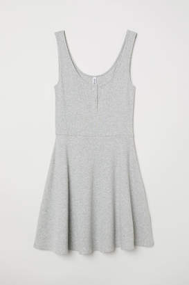 H&M Ribbed Jersey Dress - Gray