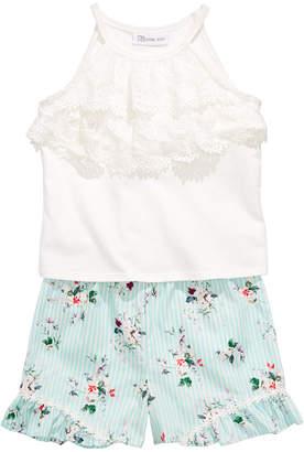 Bonnie Jean Toddler Girls 2-Pc. Lace-Trim Top & Floral-Print Shorts Set