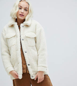 Monki teddy trucker jacket in off white