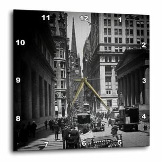 Church's 3dRose Sub Treasury Old Trinity Wall Street New York City Glass Slide, Wall Clock, 13 by 13-inch
