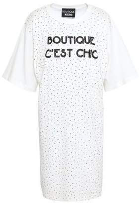 Moschino Embellished Printed Cotton-Jersey Mini Dress