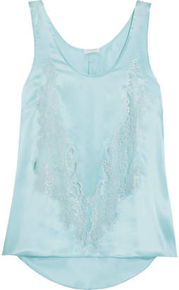 Rosamosario - Cosmic Love Chantilly Lace-paneled Silk-satin Camisole - Sky blue
