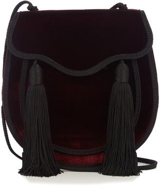 SAINT LAURENT Opium 2 tassel-trimmed velvet shoulder bag $1,250 thestylecure.com
