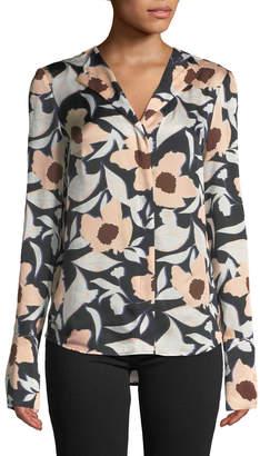 Christian Wijnants Tarani Floral Silk Charmeuse Button-Down Top