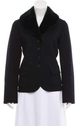 Celine Fur-Trimmed Tailored Jacket