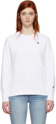 Champion Reverse Weave White Small Logo Sweatshirt