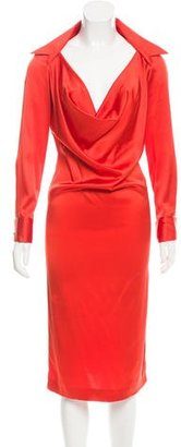 Jean Paul Gaultier Long Sleeve Silk Dress $180 thestylecure.com