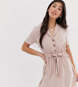 Miss Selfridge Petite shirt dress with belt in pink
