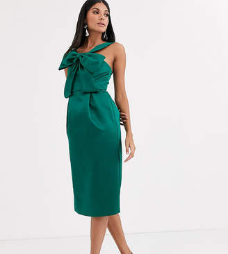 True Decadence Tall asymmetric strap midi dress with extreme bow in green