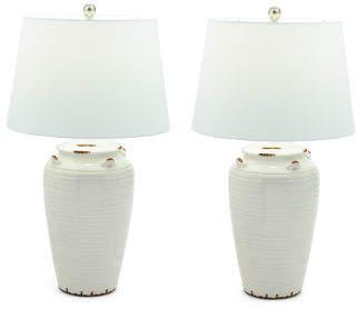 Set Of 2 25.5in Cream Urn Lamp
