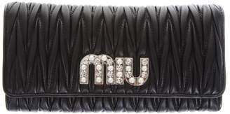 Miu Miu Embellished Logo Quilted Black Leather Wallet