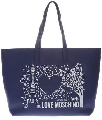 0c178830cfef at Italist · Love Moschino Blue Paris Tote Bag In Faux Leather
