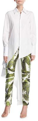 Oscar de la Renta Long-Sleeve Button-Front Asymmetrical Poplin Blouse
