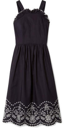 Sea Alouette Broderie Anglaise-trimmed Cotton Midi Dress - Navy