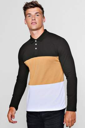 boohoo Long Sleeve Colour Block Polo