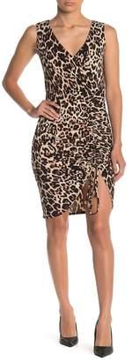 Bebe Leopard Print Surplice Ruched Body Con Dress