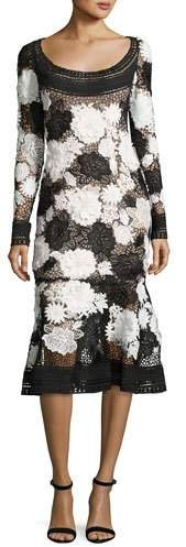 Naeem Khan Two-Tone Floral Guipure Lace Flounce Dress, Black/White