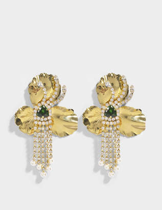 Shourouk Orchid Gold Earrings in Gold Brass, Swarovski Crystals and Pearls