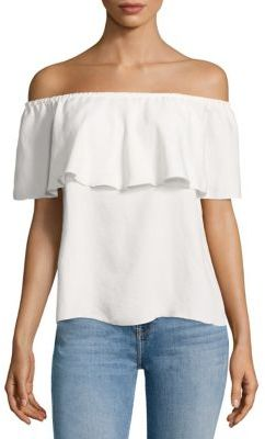 7 For All Mankind Off-the-Shoulder Ruffled Blouse $139 thestylecure.com