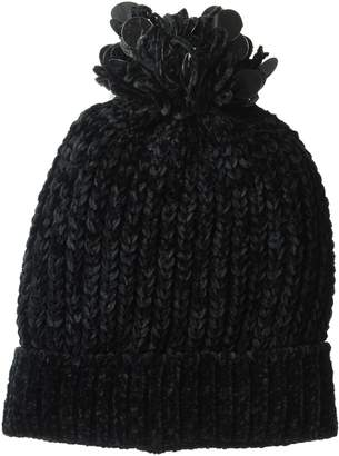 D&Y Women's Solid Chenille Beanie hat pom and Sequins