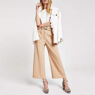 River Island Beige straight wide leg trousers