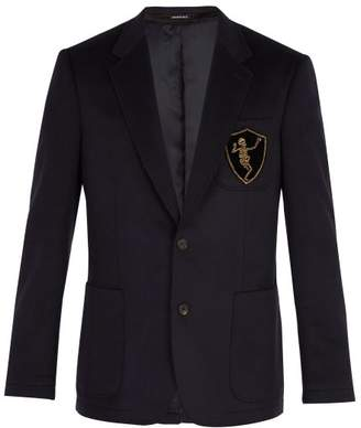Alexander McQueen Dancing Skeleton Camel Hair Blazer - Mens - Navy Multi