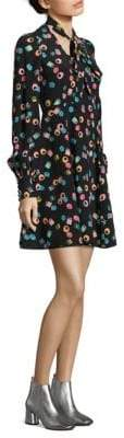 Marc Jacobs Printed Silk Tie-Neck Dress