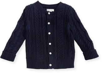 Ralph Lauren Soft Pearl Cotton Cable-Knit Cardigan, Navy, 6-24 Months