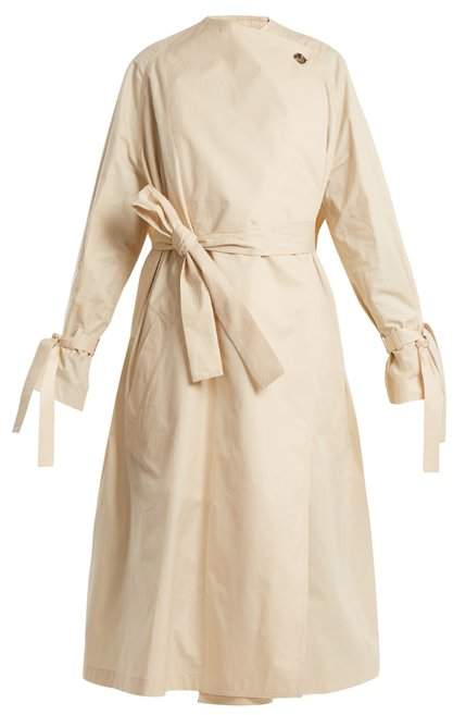 Oversized high-neck tie-waist cotton trench coat
