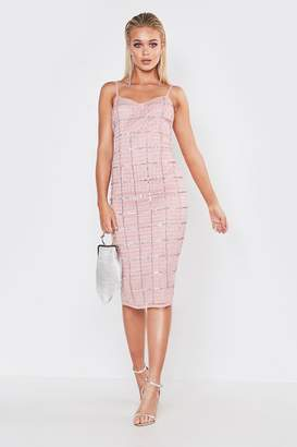 boohoo Premium Hand Embellished V Neck Midi Dress