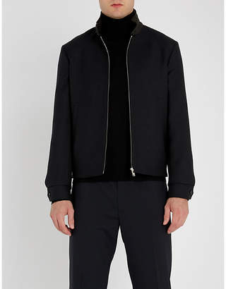 Sandro Leather-collar wool-blend jacket