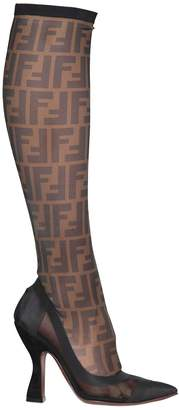 Fendi 105mm Logo Stretch Mesh Boots