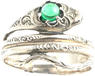 One Kings Lane Vintage Sterling & Green Glass Snake Ring - Owl's Roost Antiques