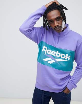 Reebok Reebook Classics Logo Half Zip Sweatshirt In Purple DX3887