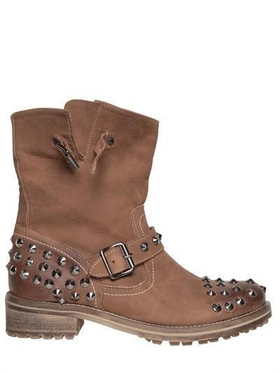 Chiara Ferragni 30mm Leather Biker Studs Boots