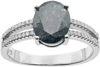 Sterling Silver Ice Cubic Zirconia Oval Ring
