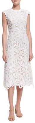 Monique Lhuillier Ribbon Guipure Lace Sleeveless Cocktail Dress, Ecru