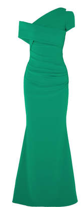 Talbot Runhof Moa One-shoulder Ruched Stretch-crepe Gown - Emerald