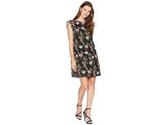 Tahari ASL Ruffle Trim Chiffon Floral Dress Women's Dress